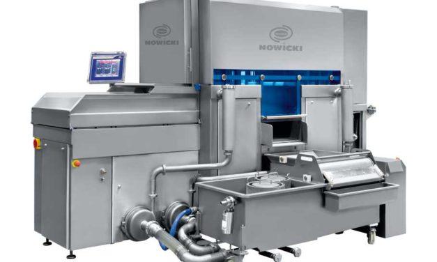 Nastrzykiwarka zserii SAS produkcji NOWICKI zinnowacyjnym systemem ważenia ikontroli poziomu nastrzyku.